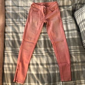 Hot Pink Ankle Jeggings with Zip